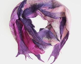 Nuno Felted Scarf, purple + amethyst + aubergine + silver