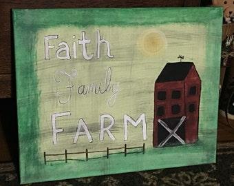 Faith, Family, Farm Primitive Barn Painting
