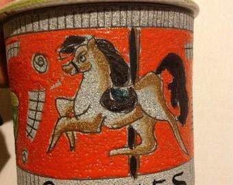 Vintage Cookie Jar, Horse Cookie Jar, made in Italy, carousel cookie jar, 1949 Orange and green circus cookie jar