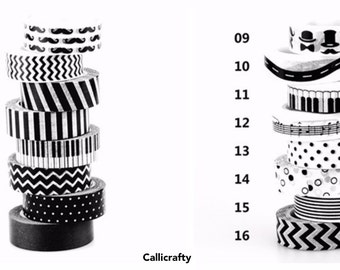 Black and White Collection Japanese Washi Tape Decorative Masking Tape Scrapbooking Adhesive