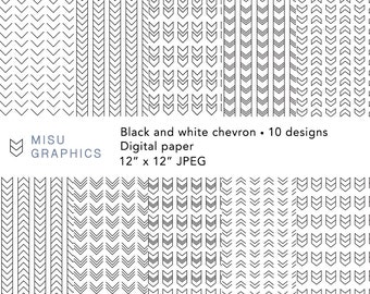 Chevron digital paper / Scrapbook paper / Background / Instant download - Black and white pattern