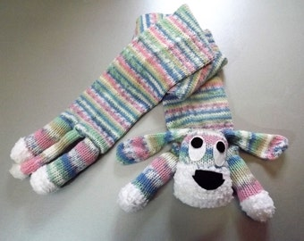 Childs Hand Knitted Dog Scarf in Pastel Shades