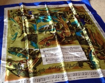 Vintage Scarf NEIL Australia Horse Silky Words & Music of Waltzing Matilda song