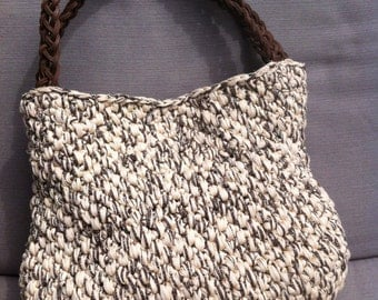 Cotton bag with braided leather handle
