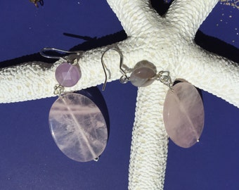 Large sliced rose quartz and small flourite bead earrings