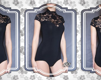 Dance leotard. Stretch leotard with scalloped lace collar. S –size. Ready to ship.