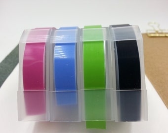 NEW Motex Pastel 3 Color Embossing Label Maker Refill Tapes Set (9mm x 3m) -1pc