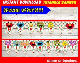 80% OFF SALE Sesame Street Triangle Banner instant download, Printable Elmo Triangle Banner,Sesame Street Party Banner