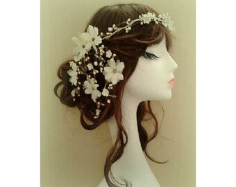 Chiffon Waterfall Flower Floral Headdress Headband