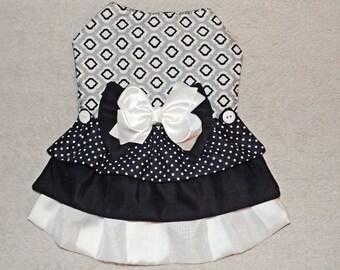 Black & Gray 3-Tier Ruffle Pet Dress
