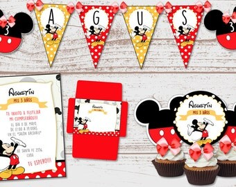 "Luxury printable Kit ""Mickey Mouse"" red polka dots birthday babes and babies. Candy Bar. Super full. Custom."