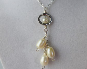 Pearl Necklace: Baroque fresh water pearls Sterling Silver Necklace
