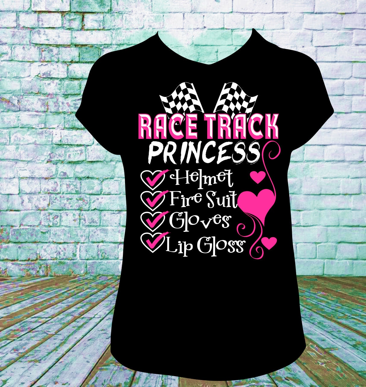 race track princess t shirt dirt track racing drag racing