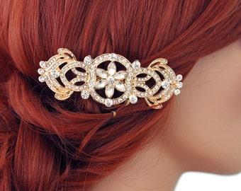 Crystal bridal hair comb, GOLD Wedding comb, Crystal hair comb, Bridal headpiece, Bridal hair accessories, 15214G Bridal hair comb