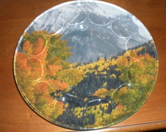 Fall in the San Juan Mountains, Colorado, Original Photo on Fabric applied to a Vintage Platter