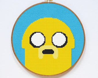 Jake Cross Stitch Pattern, Adventure Time Easy Cross Stitch Chart, PDF Format, Instant Download