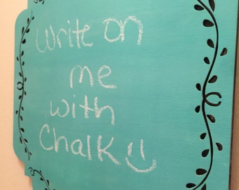 Turquoise & Midnight Blue Reversible Hanging Chalkboard