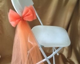 ELEGANT TULLE DOUBLE Bow Orange/Copper For Any Type Of Chair Or Bench Sold In Sets Of 6