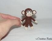 Monkey keychain, amigurumi keychain, crochet Monkey, tiny crochet animal, tiny Monkey, toy Monkey, luck charm Symbol Chinese New Year 2016