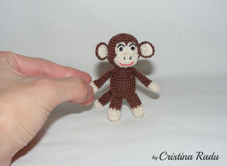 Amigurumi Monkey Keychain : Monkey keychain amigurumi keychain crochet Monkey tiny