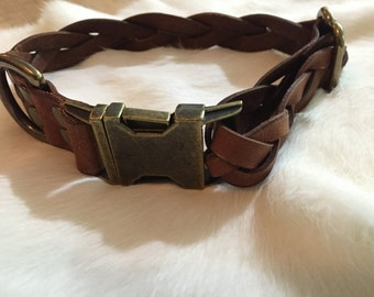 Brown Braided Adjustable Leather Quick Release Dog Collar