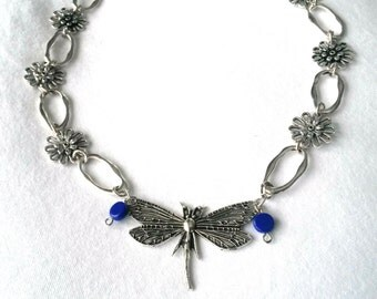 Antique Silver Dragonfly and Flower Necklace