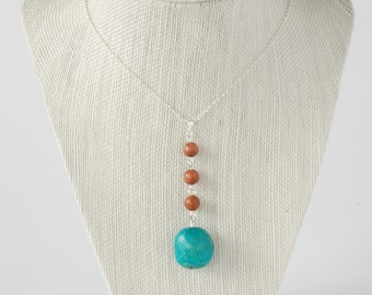 Turquoise Necklace with Goldstone and Sterling Silver Chain