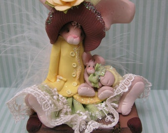 FREE SHIPPING! Polymer Clay Art Easter Bunny Rabbit on Suitcase Sculpture-Pink