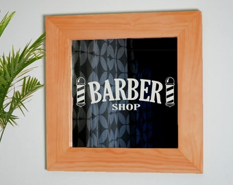 Barber Shop Mirror, Custom Barber Shop Mirror, Barber Etched Mirror, Custom Mirror, Laser Etched Mirror, Barber Mirror