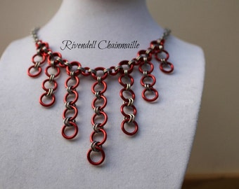 Red & Silver Dangle Necklace