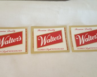 15 Vintage Walter's Beer Lables, Walter's collectibles, Walter's beer, Walter's beer lables, Colorado beer, Walter's brewery,