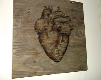Human Heart, Anatomy Art, Reclaimed wood art