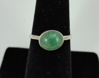 Chrysoprase Stackable Silver Ring