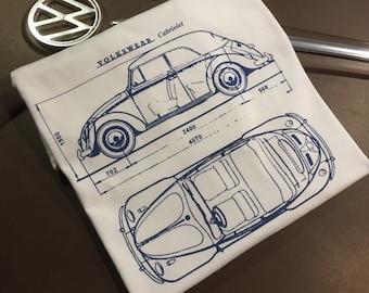 Classic Volkswagen Beetle Cabriolet Blueprint T-shirt.  Full front print on a 100% cotton preshrunk Tee. White shirt, navy blue print.