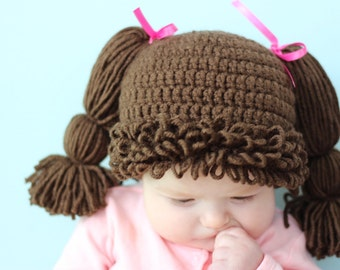 Cabbage Patch Girls Hat, Adorable, Fun Photo Prop, Dress Up, Halloween Costume, Wig - Baby Toddler, Child, Teen Adult Sizes, Custom Colors!