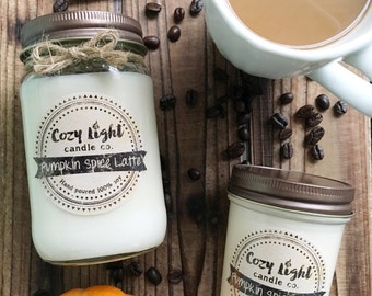 Pumpkin Spice Latte Soy Candle   Hand Poured   Fall Candle Scent