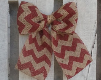 Brick Red and Tan Chevron Burlap Bow, Wreath Bow, All Purpose Bow, Spring/Summer/Fall/Winter Bow, Holiday Bow, Rustic Wedding Bow