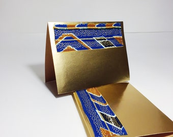 Blue and Gold Blank Cards // Metallic Greeting Cards // African Wax Print Greeting Cards with Envelopes