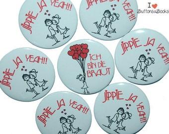 10xHochzeitsbuttons hen JGA heart air balloon Red