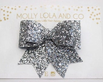 Silver Glitter Hair Bow. Baby Hair Bow - Hair Accessory - Hair Bow - For Children and Adults.