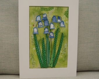 Textile Wall Art Bluebells in the Woods Unique and Handmade