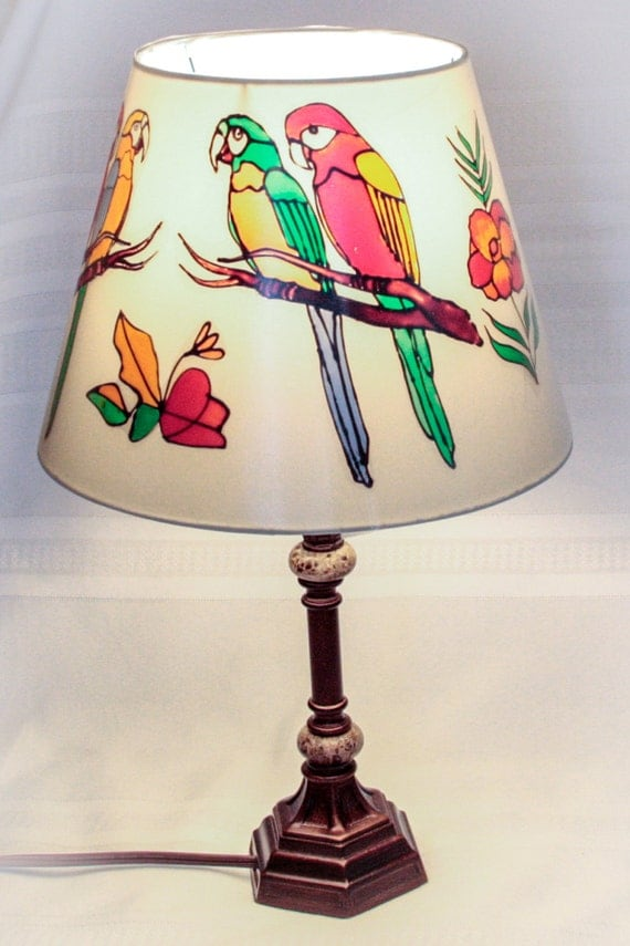 Bright Hand Painted Lamp Shade With Tropical Design Featuring
