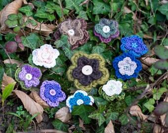 Crocheted wool flower applique