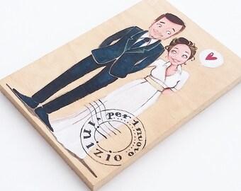 Personalized wedding portrait, DILISA newlyweds illustration