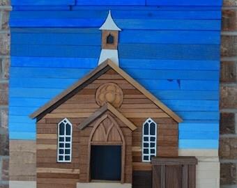 Ghost Town Church | Wood Wall Art
