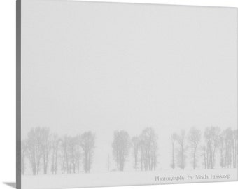 Winter's Veil II, Canvas, trees in winter, snowstorm, blizzard, winter photograph, minimalist photo, seasonal art, wall art, black and white