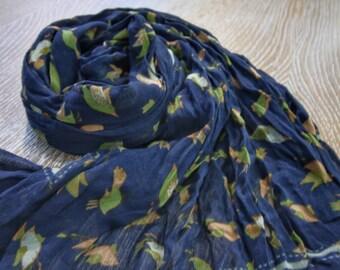 Dark Blue Bird Cotton Scarf, Cotton Scarve, Handmade Scarf