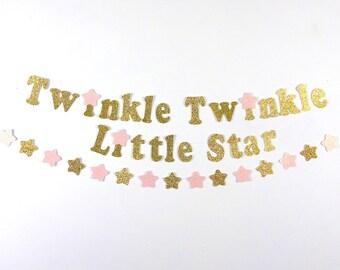 Twinkle, Twinkle Little Star Gold Glitter Banner, Stars Garlands, Stars Confetti, Birthday Decor, Pink and Gold Birthday, First Birthday
