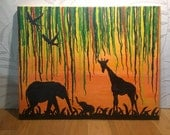 Unique Jungle/Forest Melted Crayon Art and Acrylic Painting for Home Decor,Vines Elephant, Giraffe, and Birds. Unique Gift for Nature Lover.