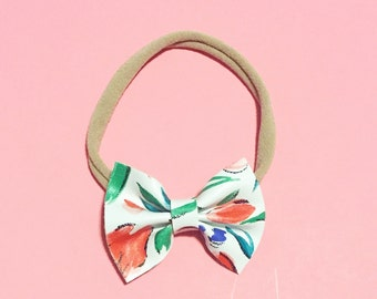 Tulip Floral Bow, Leather Bow, Baby Bow, Floral Bow
